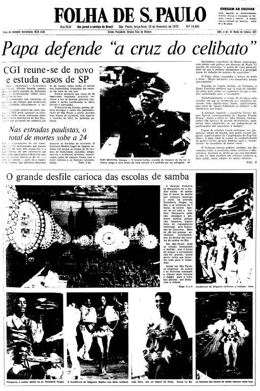 Primeira Página da Folha de 10 de fevereiro de 1970