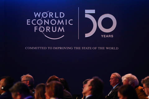 A logo of the World Economic Forum (WEF) is pictured during a session in Davos, Switzerland, January 22, 2020. REUTERS/Denis Balibouse ORG XMIT: GDN1140
