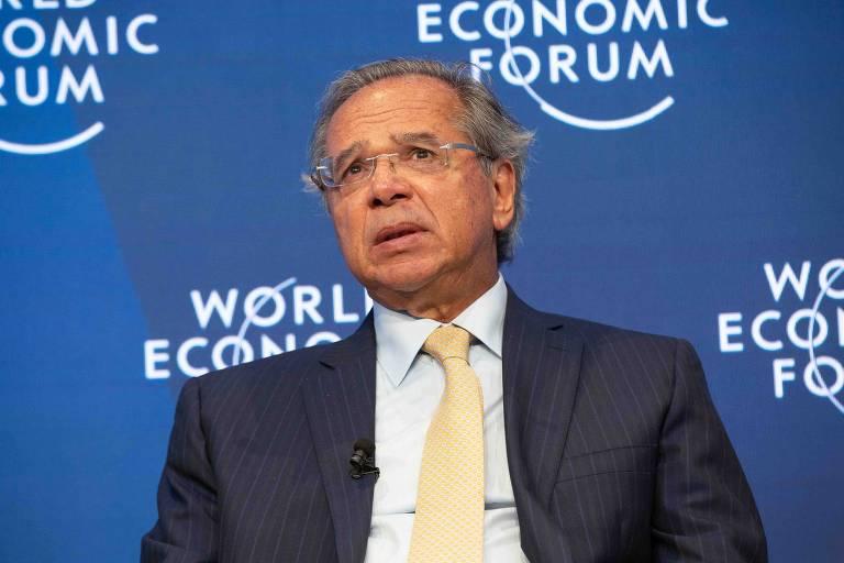 O ministro da Economia, Paulo Guedes, durante o Fórum Econômico Mundial