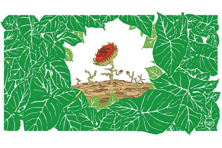 Contornando a ilustra, uma porção de folhas, formando uma clareira onde se vê um botão de rosa nascendo, nele impresso a suástica nazista.