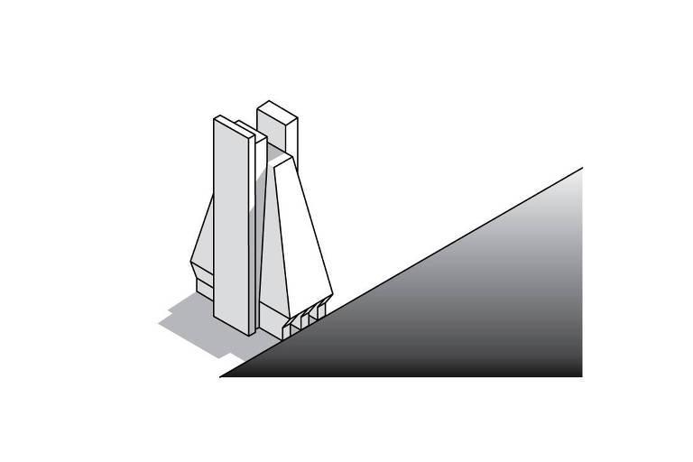 Ilustração do prédio da Fiesp, na avenida Paulista. Ele está sobre um fundo branco e a sua frente, o fundo é preto.