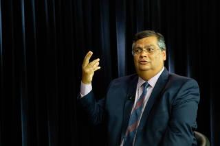 O governador do Maranhão, Flávio Dino (PC do B), durante entrevista