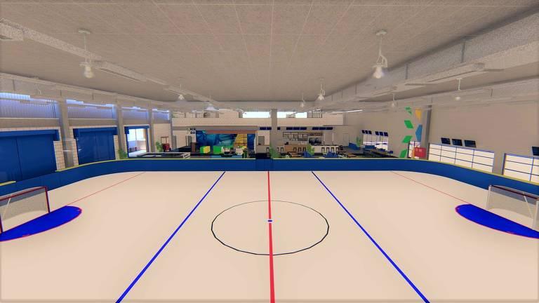 Projeto em 3D da pista de galpão que agrupa pistas de hóquei e curling