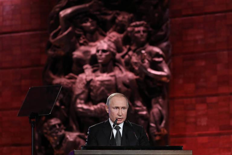 Putin discursa sobre o Holocausto no museu dedicado ao tema Yad Vashen, em Jerusalém