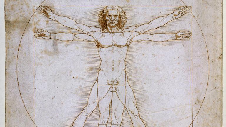 Réplica do desenho feito por Leonardo da Vinci do Homem Vitruviano, em 1490, que estará na exposição Da Vinci Experiencie e Suas Invenções