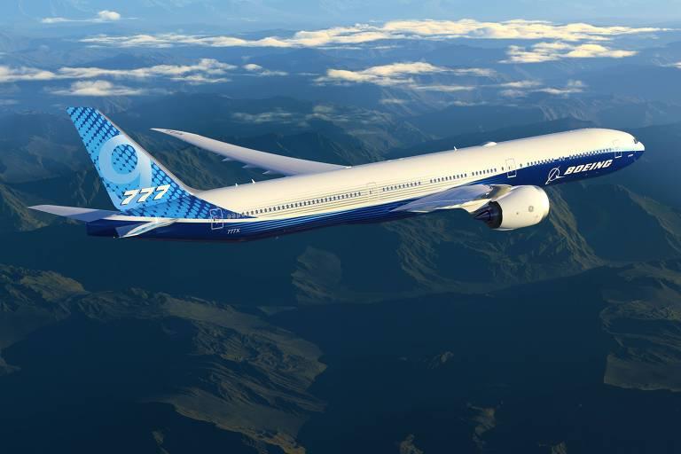 Projeção de computador mostra avião em voo