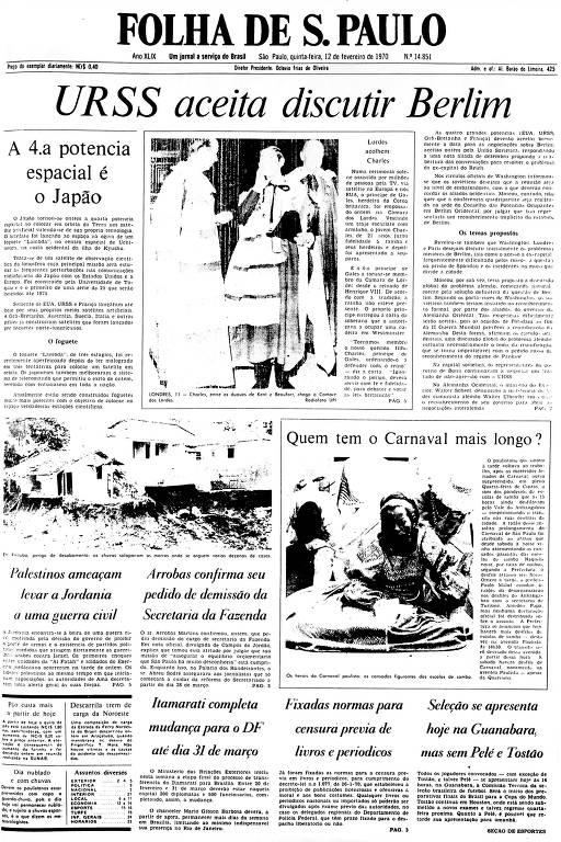 Primeira Página da Folha de 12 de fevereiro de 1970