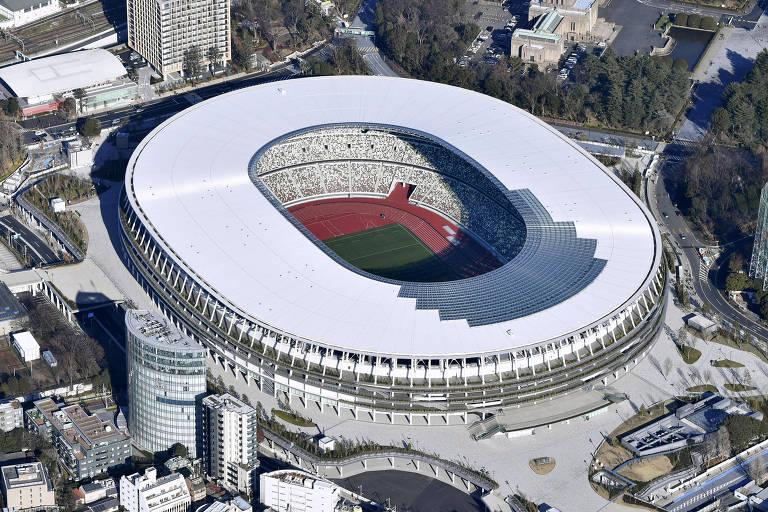 Vista aérea no novo Estádio Olímpico de Tóquio