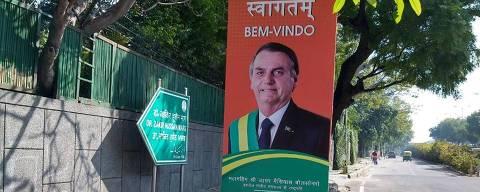 Cartaz de boas vindas ao presidente Jais Bolsonaro em Délhi, na Índia