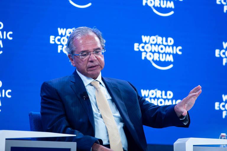 Ministro Paulo Guedes (Economia) em palestra no Fórum Econômico Mundial