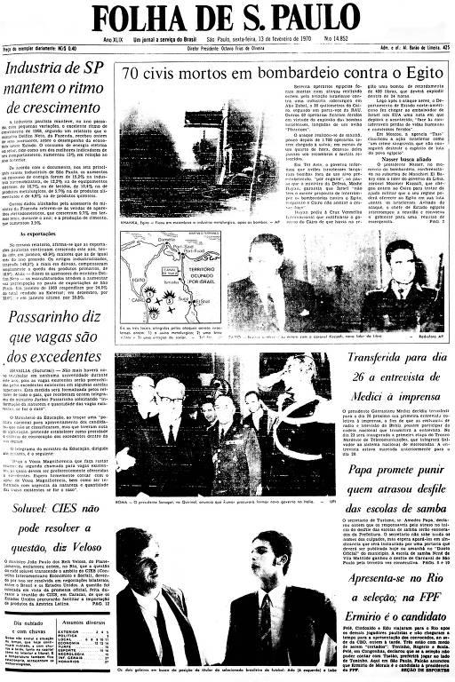 Primeira Página da Folha de 13 de fevereiro de 1970