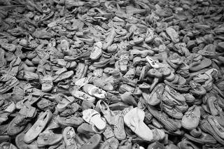 Shoes of prisoners are seen in the former Nazi German Auschwitz concentration camp complex in Oswiecim