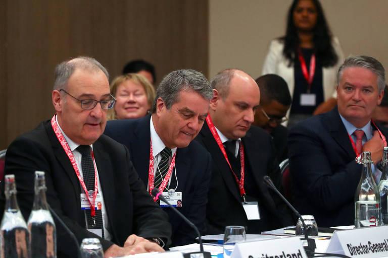 O diretor-geral da OMC, Roberto Azêvedo, em encontro ministerial da entidade em Davos, na Suíça