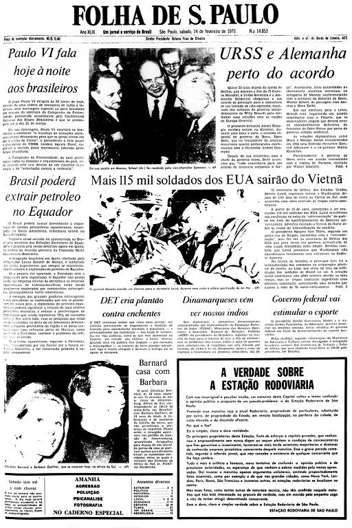 Primeira Página da Folha de 14 de fevereiro de 1970