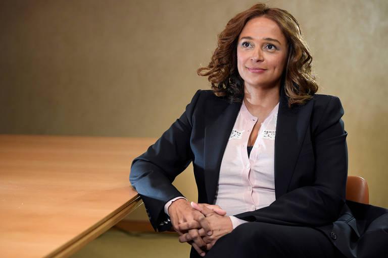 Isabel Dos Santos, filha do ex-presidente de Angola José Eduardo dos Santos, durante entrevista em Londres