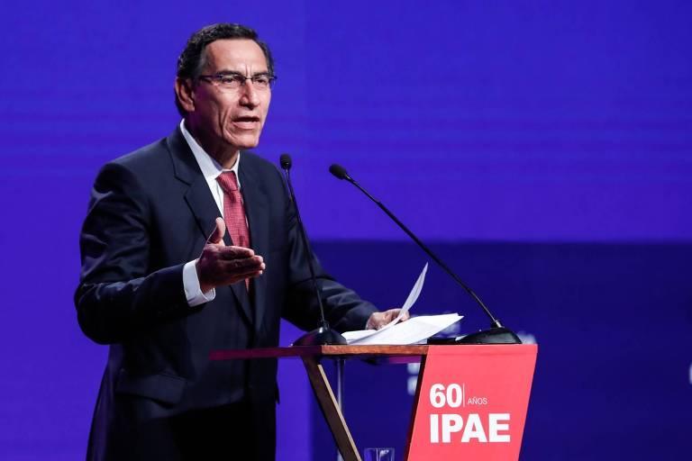 O presidente peruano, Martín Vizcarra, durante conferência em Paracas, no Peru