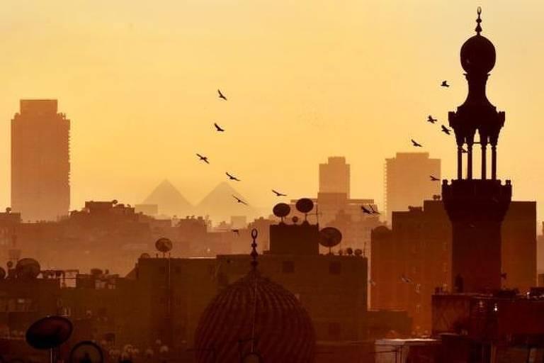 Cidade ao pôr do sol