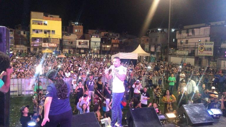 O funkeiro Nego do Borel durante apresentação no Paraisopolis, parte da programação do aniversário de São Paulo