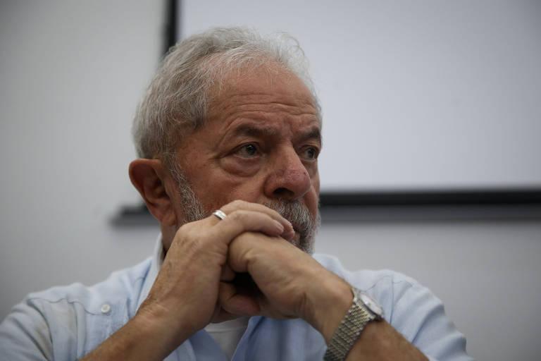 O ex-presidente Lula durante reunião do diretório nacional do PT em São Paulo