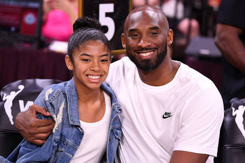 FILE PHOTO: Jul 27, 2019; Las Vegas, NV, USA; Kobe Bryant is pictured with his daughter Gianna at the WNBA All Star Game at Mandalay Bay Events Center. Mandatory Credit: Stephen R. Sylvanie-USA TODAY Sports/File Photo ORG XMIT: FW1