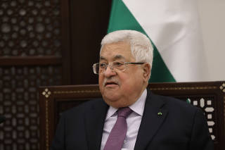 Palestinian President Mahmoud Abbas meets with Russian President Vladimir Putin in Bethlehem in the Israeli-occupied West Bank