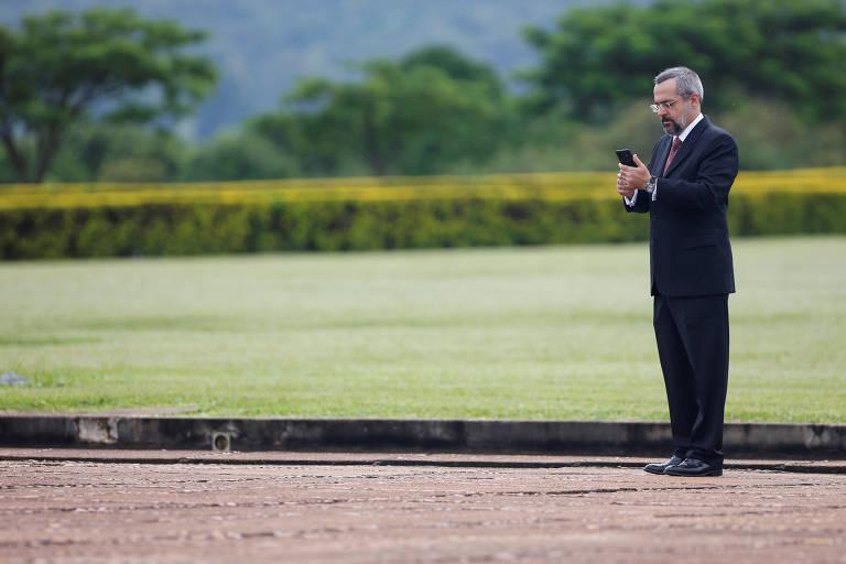 O ministro da Educação, Abraham Weintraub, durante cerimônia no Palácio da Alvorada, em Brasília