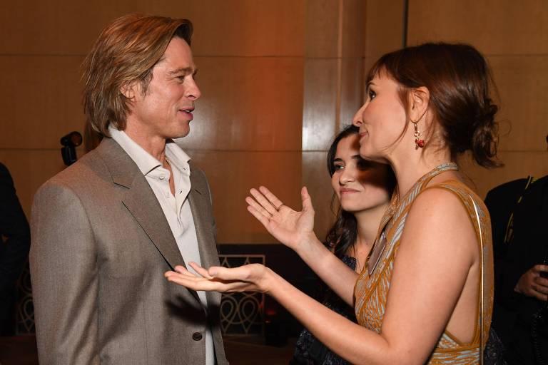 Brad Pitt e a diretora Petra Costa