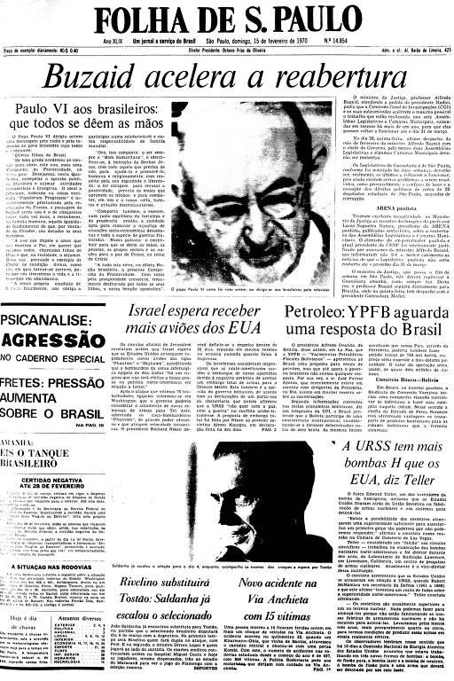 Primeira Página da Folha de 15 de fevereiro de 1970
