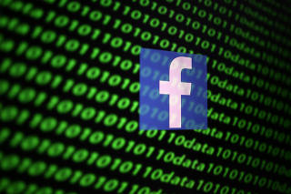 The Facebook logo and binary cyber codes are seen in this illustration