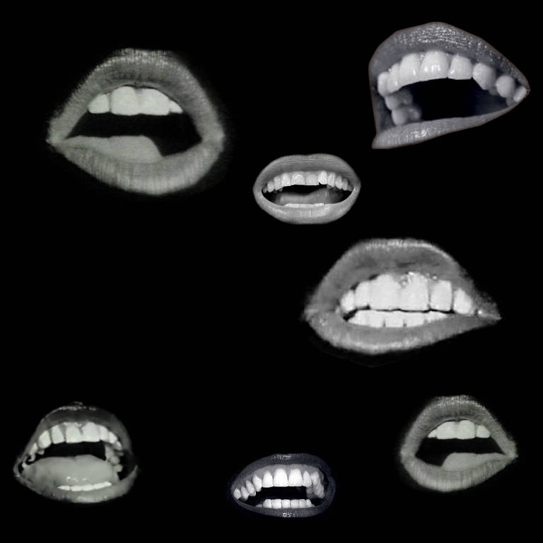 bocas em preto e branco
