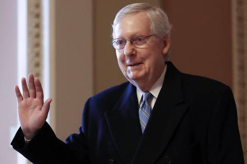 WASHINGTON, DC - JANUARY 24: U.S. Senate Majority Leader Sen. Mitch McConnell (R-KY) walks to his office in the U.S. Capitol on January 24, 2020 in Washington, DC. Impeachment trial proceedings against President Donald Trump are set to resume later today.   Mario Tama/Getty Images/AFP