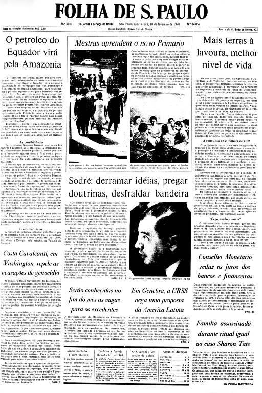 Primeira Página da Folha de 18 de fevereiro de 1970
