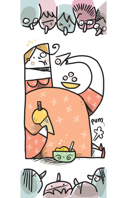 """Ilustração de uma mulher grávida sentada. Ela tem sushis em uma mão e um sorvete de casquinha na outra. Há uma tigela de comida do lado dela e uma onomatopéia """"PUM"""". Em volta, há várias pessoas observando a cena com expressões sérias."""