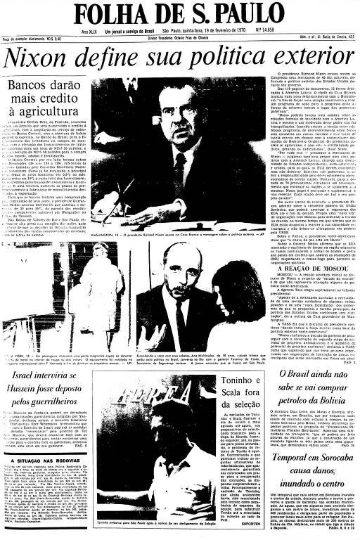Primeira Página da Folha de 19 de fevereiro de 1970