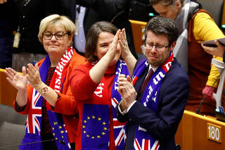 British EU Members of Parliament react after the brexit vote