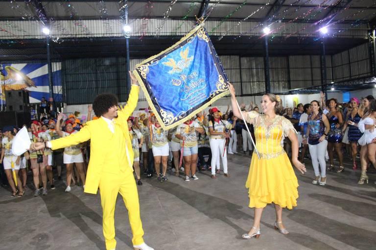 Ensaio na quadra da escola de samba Águia de Ouro, em São Paulo
