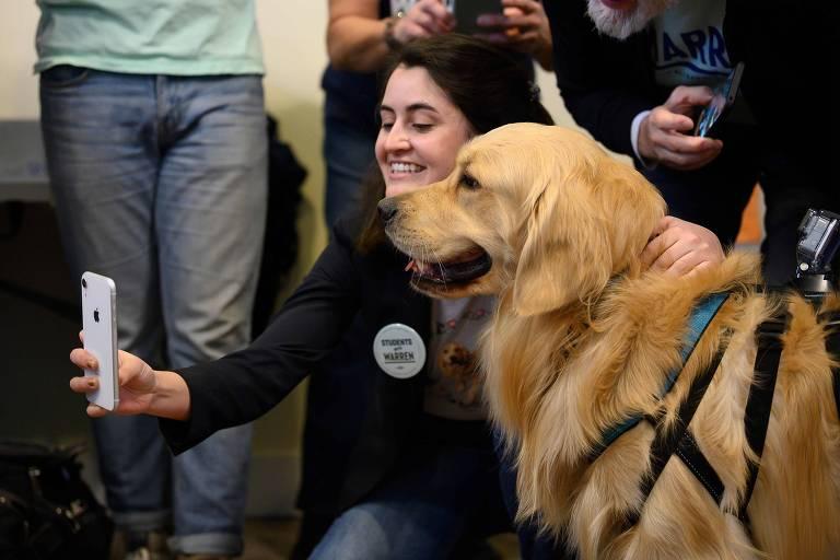 Apoiadora da pré-candidata Elizabeth Warren tira foto com Bailey, o cachorro de democrata, durante evento de campanha em Waterloo, Iowa