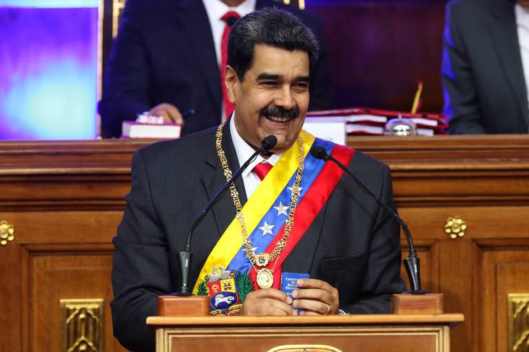 O ditador venezuelano Nicolás Maduro durante discurso à Assembleia Constituinte