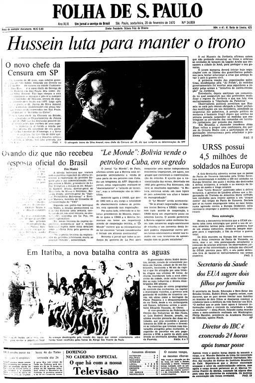 Primeira Página da Folha de 20 de fevereiro de 1970