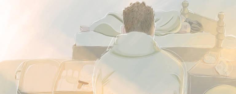 Ilustração de homem sentado de costas olhando para pessoa dormindo em cama em frente. Ao seu lado, uma mala com uma arma em destaque.
