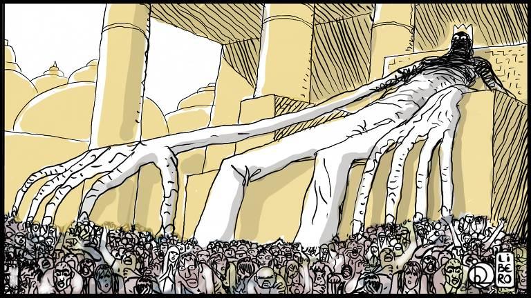 Ilustração de um ser gigante sentado um trono. Ele tem braços e pernas longos, está usando uma coroa e seu rosto não está visível. Há uma multidão no chão.