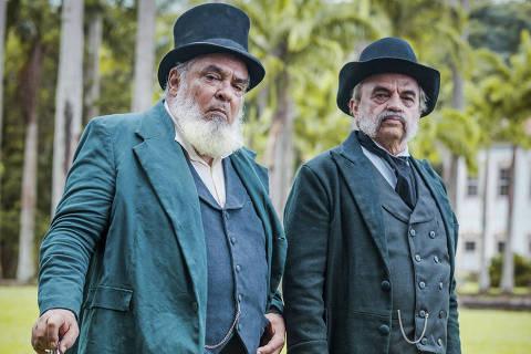 'Nos Tempos do Imperador': Ambrósio ( Roberto Bomfim ) e Eudoro ( José Dumont )