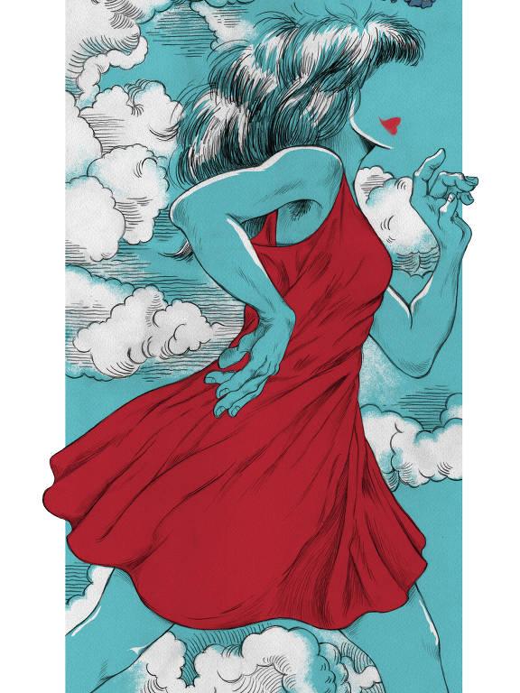 Na ilustração, uma mulher com vestido vermelho corre. Ela está sob um fundo azul cheio de nuvens brancas.