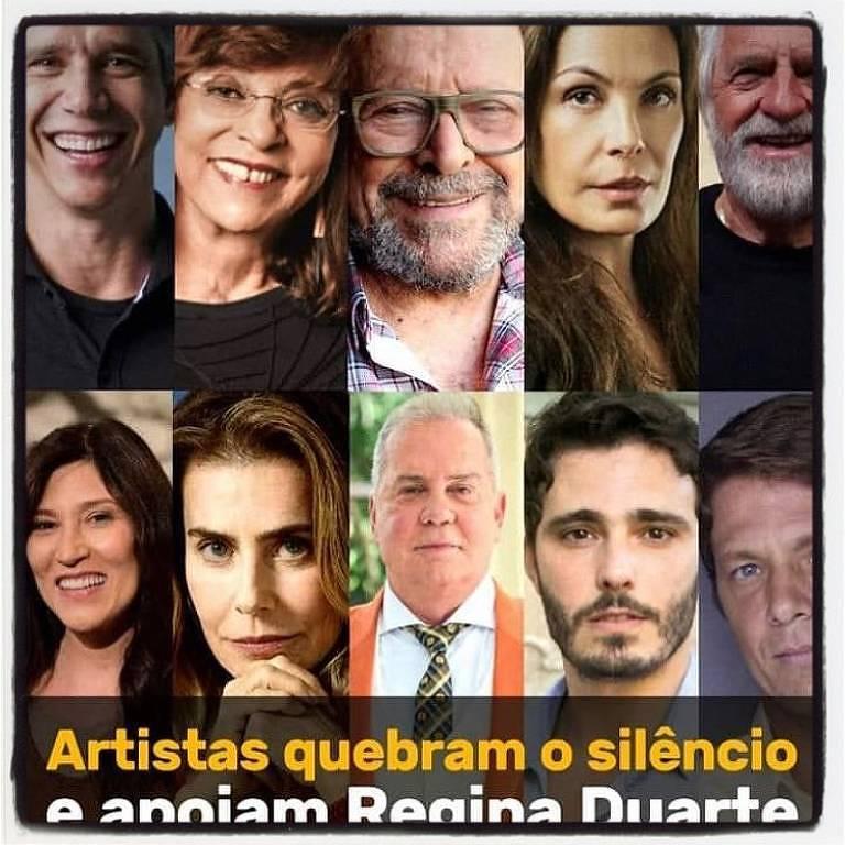 Regina Duarte mostra o apoio de famosos à sua nova função política