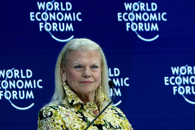 Ginni Rometty, agora ex-presidente da IBM, em Davos para o Fórum Econômico Mundial