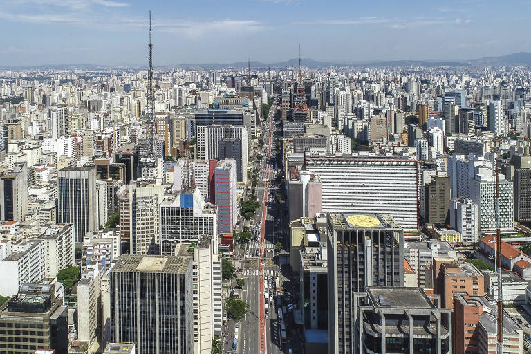 Vista de drone da avenida Paulista