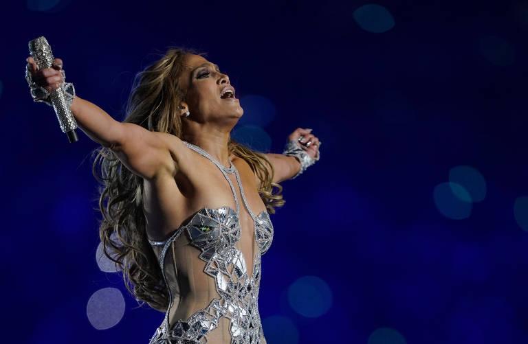 A cantora Jennifer Lopez, em seu show no Super Bowl de 2020