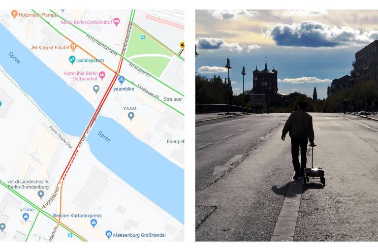Artista diz criar trânsito virtual ao puxar carrinho com 99 celulares