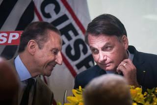 Paulo Skaf e Jair Bolsonaro em evento na Fiesp