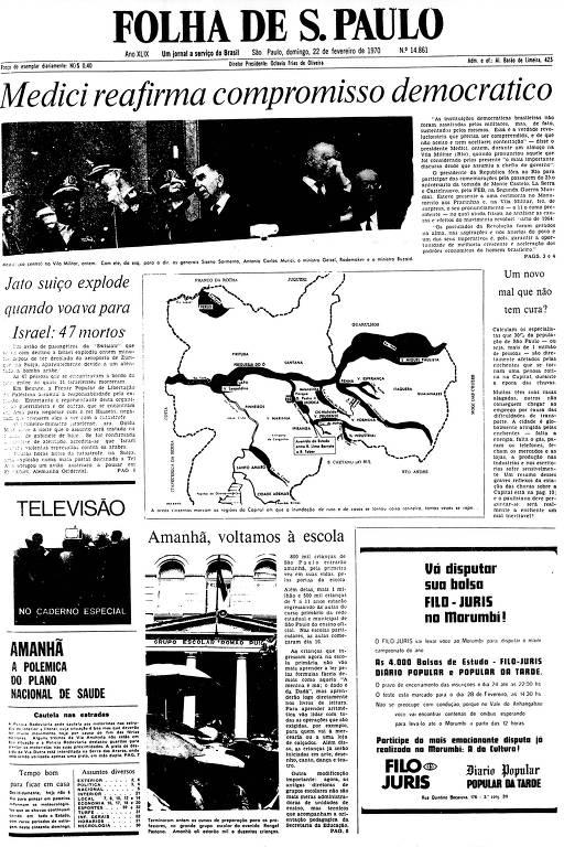 Primeira Página da Folha de 22 de fevereiro de 1970